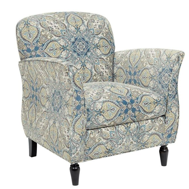 Escher Accent Chair in Blue & Beige Paisley Printed Fabric w/Moroccan Wood Legs