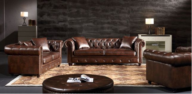 Eskridge Traditional Brown Chesterfield Sofa Loveseat Set In