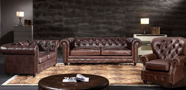 Brown Chesterfield 3 Piece Sofa, Loveseat & Chair 3pc Set Leather Air