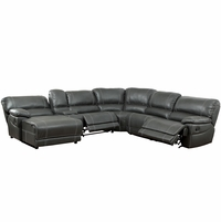 Estrella Transitional Reclining Sectional in Gray Leatherette Upholstery