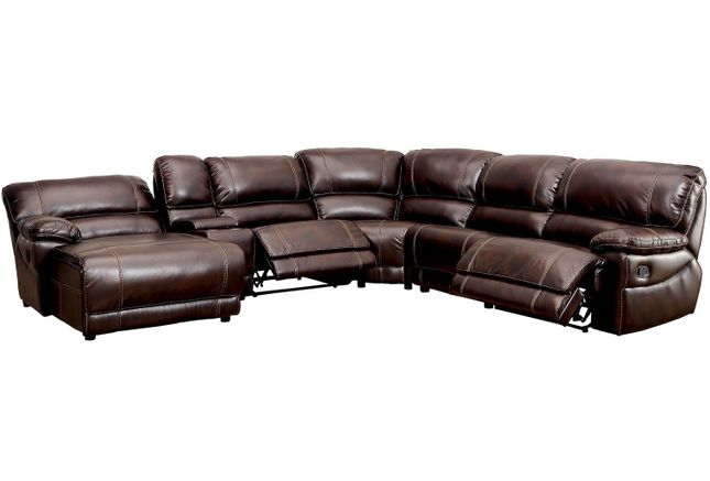 Estrella Transitional Reclining Sectional in Brown Leatherette Upholstery