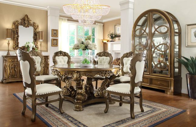 """Extravagant Traditional Formal Dining Set 60"""" Round Carved Table & Chairs"""