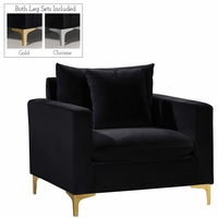 Fenton Contemporary Black Velvet Chair with Track Arms & Gold or Chrome Legs