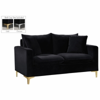 Fenton Contemporary Black Velvet Loveseat with Track Arms & Gold or Chrome Legs