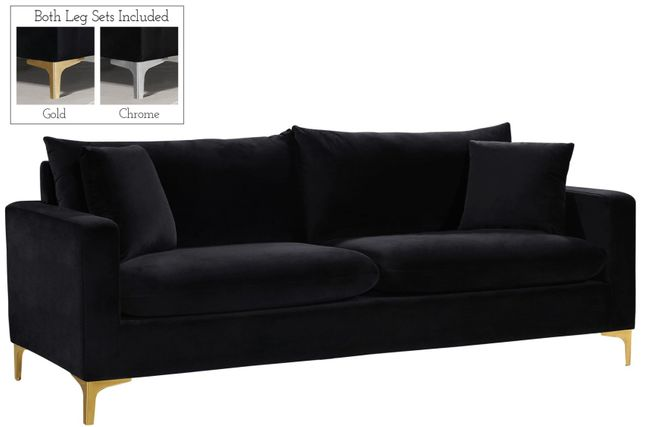Fenton Contemporary Black Velvet Sofa with Track Arms & Gold ...
