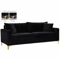 Fenton Contemporary Black Velvet Sofa with Track Arms & Gold or Chrome Legs
