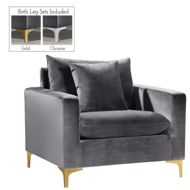 Fenton Contemporary Grey Velvet Chair with Track Arms & Gold or Chrome Legs