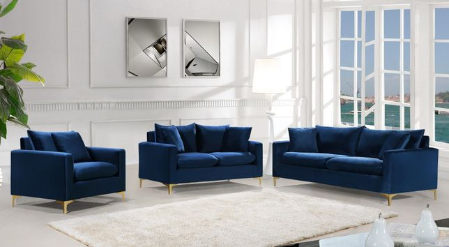 Fenton Contemporary Navy Blue Velvet Sofa Loveseat Set Gold Or Chrome Legs