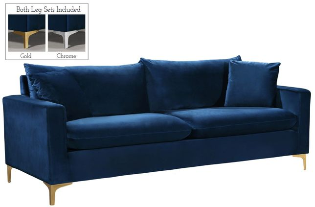 Fenton Contemporary Navy Blue Velvet Sofa With Track Arms Gold Or Chrome Legs