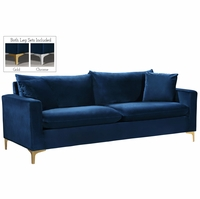 Fenton Contemporary Navy Blue Velvet Sofa with Track Arms & Gold or Chrome Legs