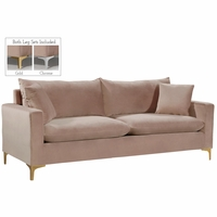 Fenton Contemporary Pink Velvet Sofa with Track Arms & Gold or Chrome Legs