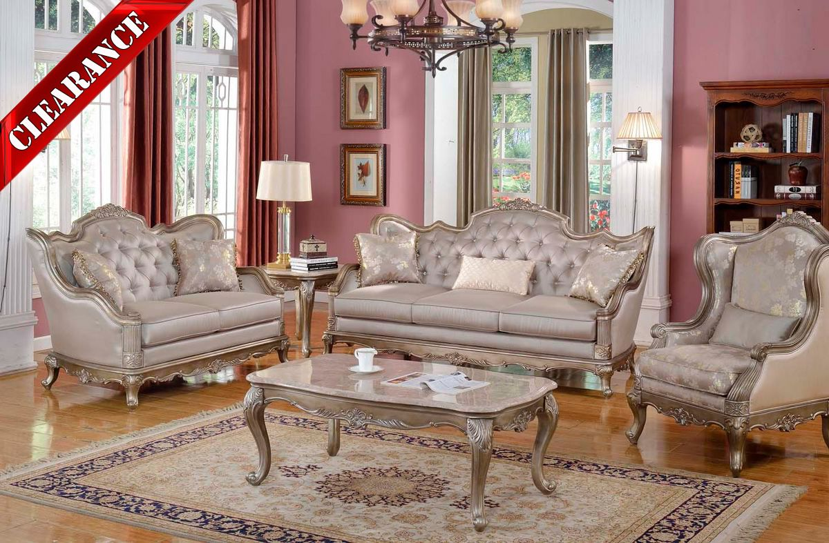 appealing formal elegant sofa living room | 5 Pc Elegant Traditional Antique Silk Style Sofa LoveSeat ...