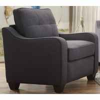 Fischer Modern Grey Fabric Chair with Tufted Backrest Cushion & Scooped Arms