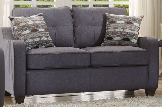 Fischer Modern Grey Fabric Loveseat With Tufted Backrest Cushion