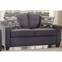 Fischer Modern Grey Fabric Loveseat with Tufted Backrest Cushion & Scooped Arms