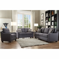 Fischer Modern Grey Fabric Sofa & Loveseat with Tufted Backrest & Scooped Arms