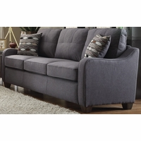 Fischer Modern Grey Fabric Sofa with Tufted Backrest Cushion & Scooped Arms