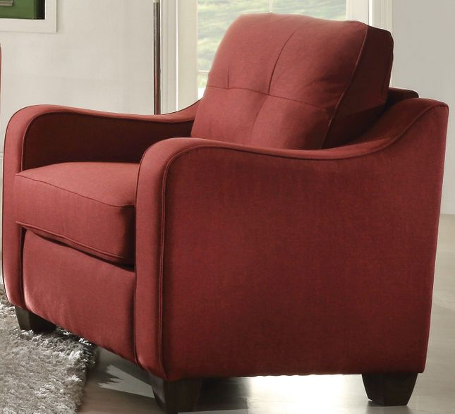 Fischer Modern Red Fabric Chair with Tufted Backrest Cushion & Scooped Arms