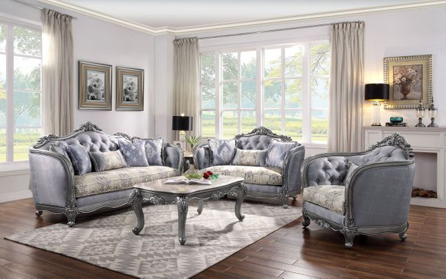 French Antique Style Formal Living Room Sofa Set Light Blue Platinum Finish