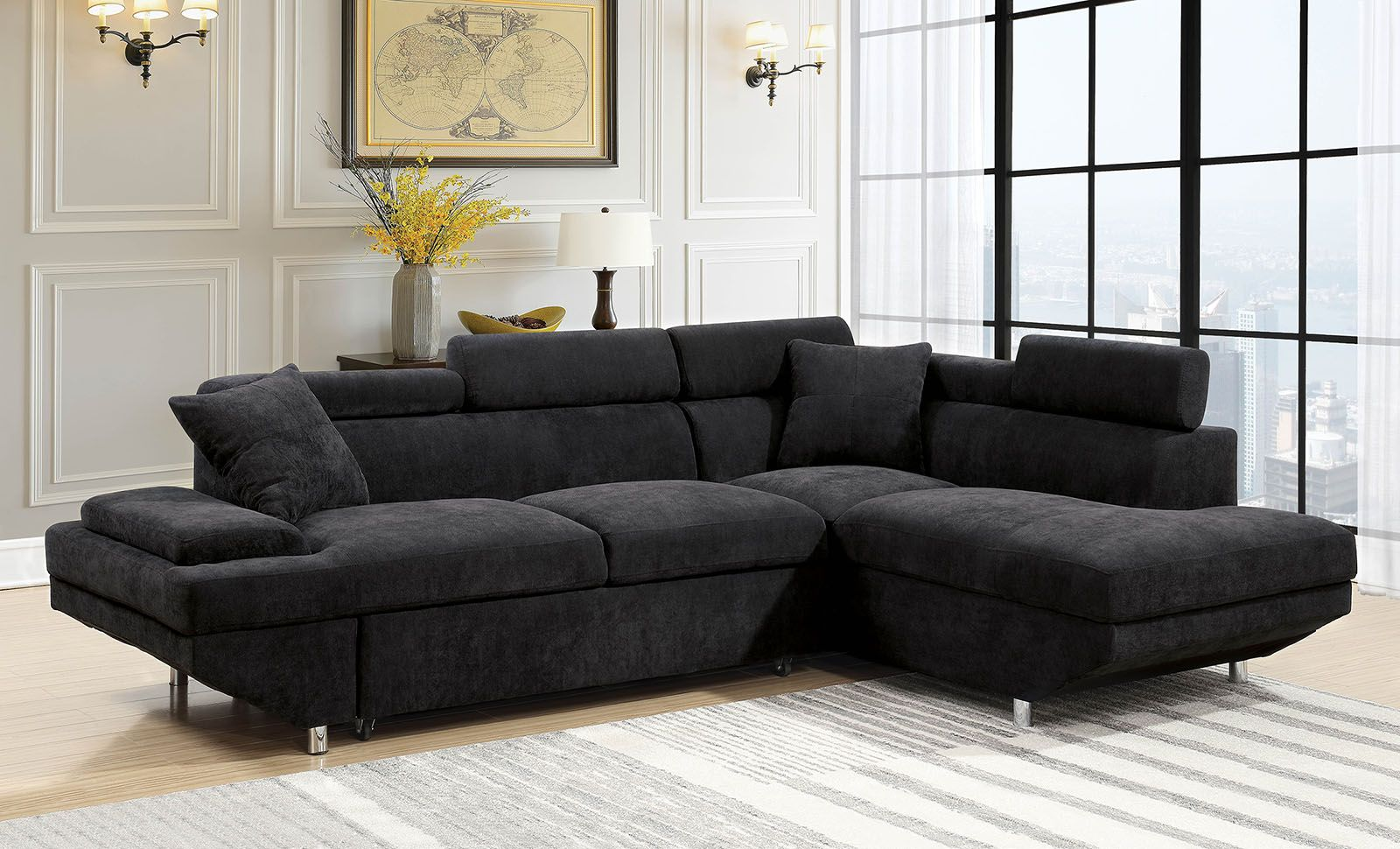 Foreman Contemporary Sectional Sleeper Sofa in Black ...