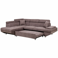 Foreman Contemporary Sectional Sleeper Sofa in Brown Flannelette Fabric