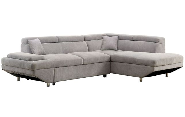 Foreman Contemporary Sectional Sleeper Sofa in Gray Flannelette Fabric