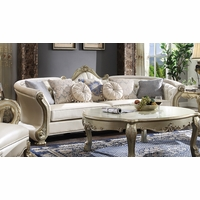 """Formal Button Tufted 113"""" Curved Sofa Pearl White & Gold w/ Pillows"""