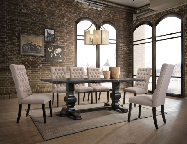 Fossano 88 Trestle Dining Table Set, Trestle Dining Room Table
