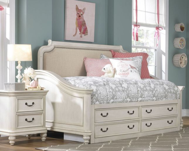 French Madison Kid\'s White Bedroom Set Twin Storage Day ...