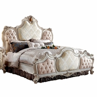 French Provincial Victorian Button Tufted King Bed Pearl White Jacquard Fabric