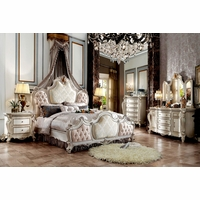 French Provincial Victorian Button Tufted King Bedroom Set Pearl White Jacquard Fabric