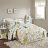 Full/Queen Size Woodland Coverlet Set Cotton Blue Green INK+IVY Kids II13-631