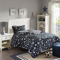 Full/Queen Starry Night Reverse Cover Set Micro Fiber,Cotton Black Grey Zone Kid