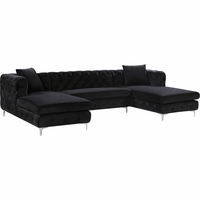 Jana Deep Tufted Black Velvet Double Chaise Sectional Sofa with Chrome Legs