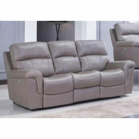 Genuine Top Grain Leather Motion Reclining Sofa Smoke Grey Taupe Couch