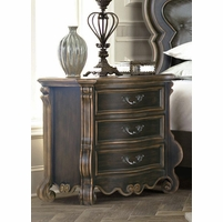 Gothic 3 Drawer Nightstand Ebony Finish Gold Carved Details