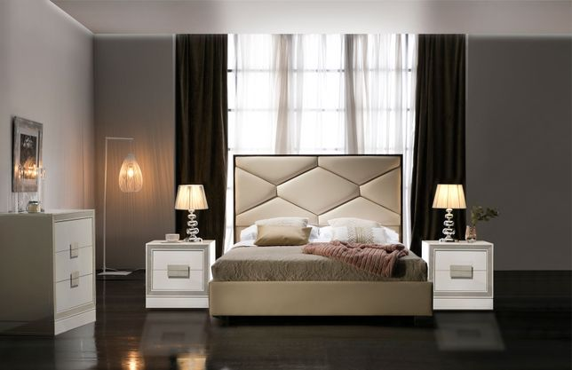 Gwendolyn Contemporary Tufted Beige Eco Leather Storage King Bedroom Set