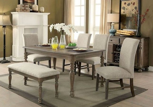 """Hadley 5-pc Rustic  66"""" Dining Set w/ Square Back Chairs in Weathered Oak Finish"""