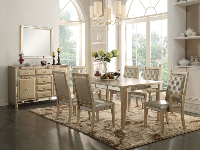 Halesworth 72 90 Dining Table With Mirror Accents In Antique Gold Finish