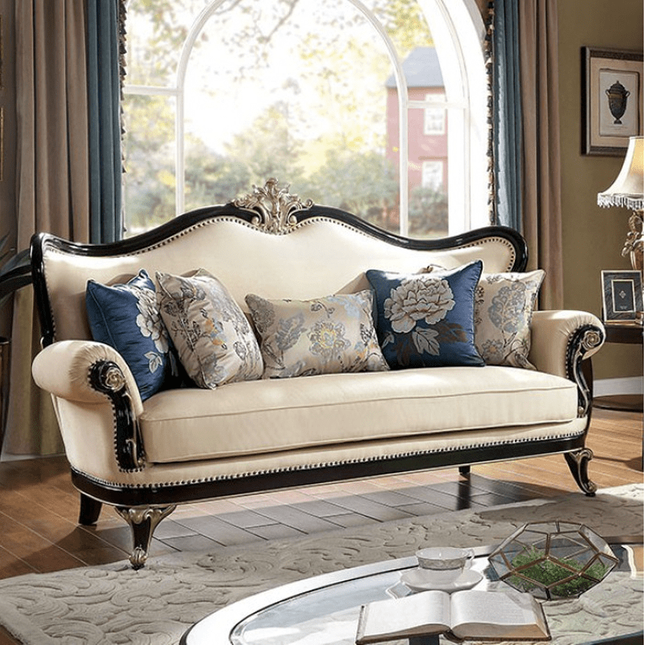 French Provincial Ivory Chenille Sofa Black & Gold Carved Wood Traditional Couch