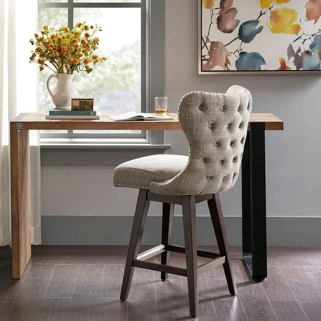 Hancock High Wing Back Button Tufted Upholstered 27 Swivel Counter Bar Stool