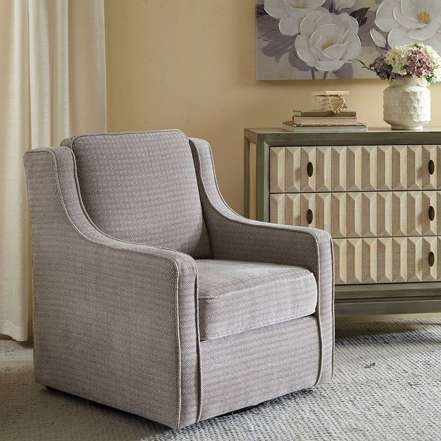 Harris Chenille Swivel Chair Solid Wood, Metal Grey Contemporary Madison Park