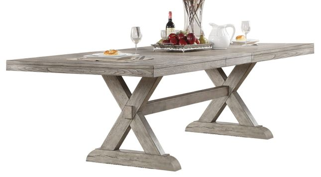 Trestle Dining Table In Grey Oak Finish