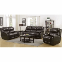 Hearst Power Brown Genuine Leather 2pc Reclining Sofa and Loveseat Set