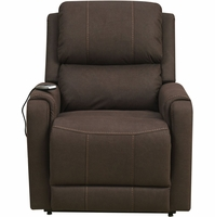 Modesto Bark Heat & Massage Reclining Lift Chair w/ Battery, Brown Faux Leather Finish