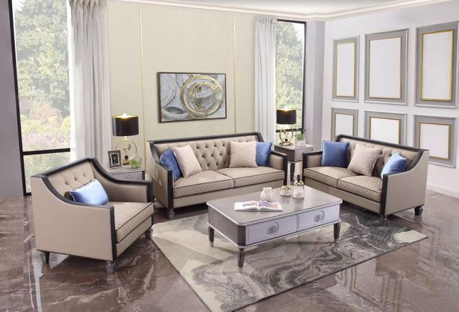 Beige On Tufted Fabric, Tufted Living Room Furniture