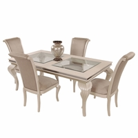 Hollywood S 5 Pc 102 Gl Top Dining Table Set In Pearl Caviar Finish