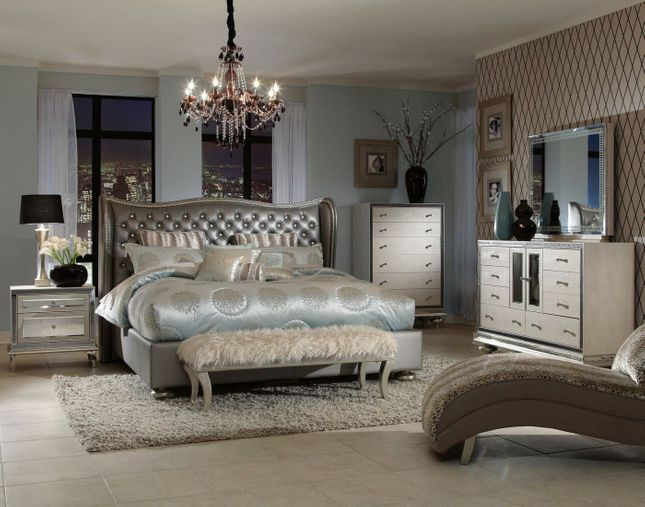 Hollywood Swank Modern Wing Back Brown Leather 4 Pc Queen Bed Set In Metallic Grey,Colours That Go With Purple In A Bedroom
