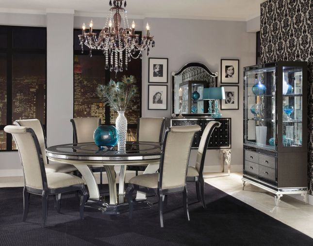 Hollywood S 5 Pc 72 Round Gl Top Dining Table Set In Caviar Finish