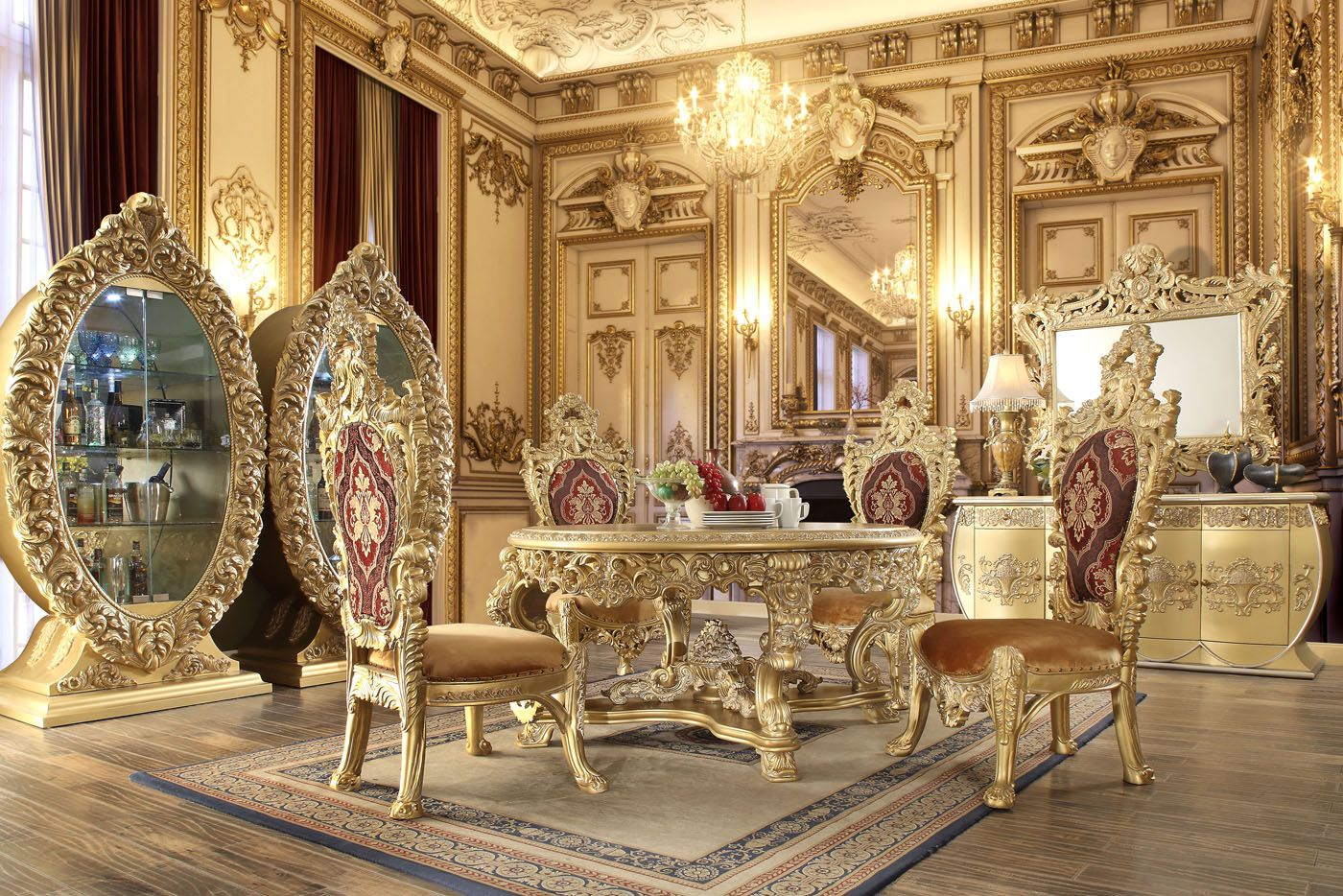 Traditional Opulence Ornate Gold 60 Quot Round Formal Dining